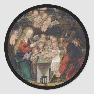 Nativity Featuring Cherubs Classic Round Sticker