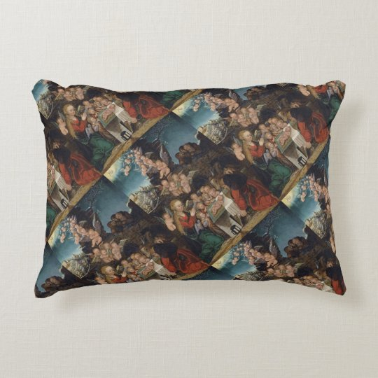 Nativity Featuring Cherubs Decorative Cushion