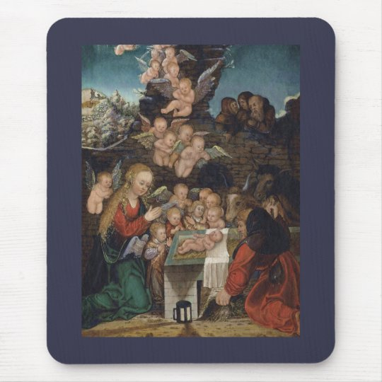 Nativity Featuring Cherubs Mouse Pad