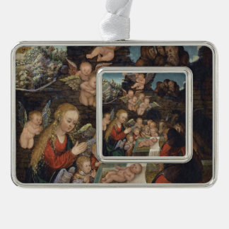 Nativity Featuring Cherubs Silver Plated Framed Ornament