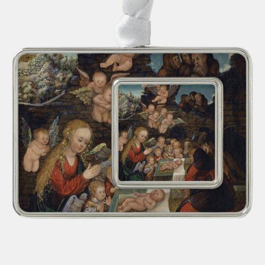 Nativity Featuring Cherubs Silver Plated Framed Ornament