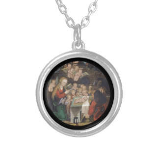 Nativity Featuring Cherubs Silver Plated Necklace