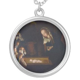 Nativity Geburt Christi by Geertgen tot Sint Jans Silver Plated Necklace