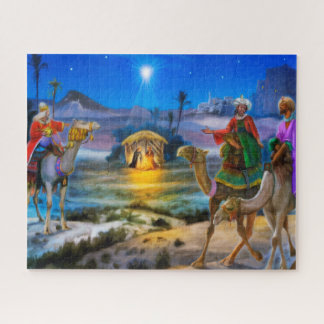 Nativity holiday jig saw with three kings jigsaw puzzle