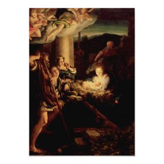 Nativity - Holy Night - Correggio - Renaissance 13 Cm X 18 Cm Invitation Card