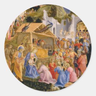 Nativity in Bethlehem Classic Round Sticker