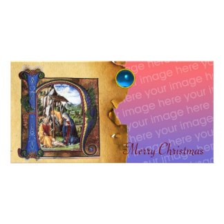 NATIVITY MONOGRAM CHRISTMAS PARCHMENT Blue Gem Custom Photo Card