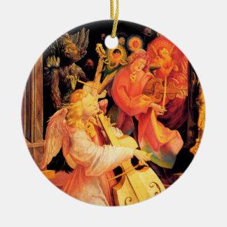 NATIVITY,MUSIC MAKING ANGELS - MAGIC OF CHRISTMAS CERAMIC ORNAMENT