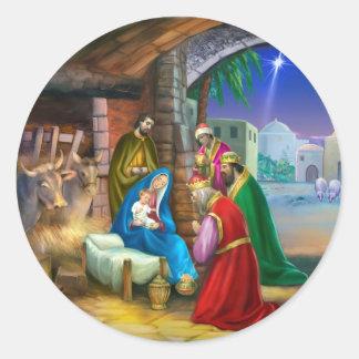 Nativity of Jesus Classic Round Sticker