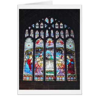 Nativity on a stained glass window greeting card