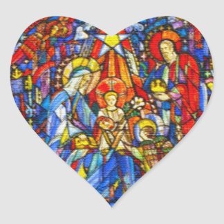 Nativity Painted Stained Glass Style Heart Sticker