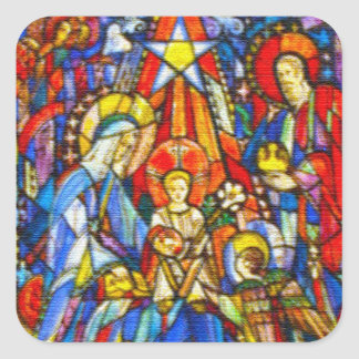 Nativity Painted Stained Glass Style Square Sticker