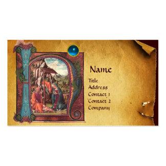 NATIVITY PARCHMENT  Blue Sapphire Monogram Business Cards