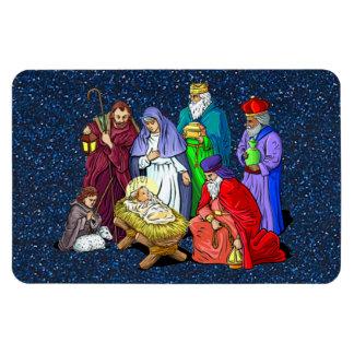 nativity rectangular photo magnet
