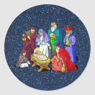 nativity round sticker