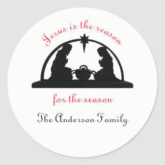 Nativity Scene Black/White - Christmas Sticker