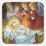 """Nativity Scene"" Christmas Square Sticker"