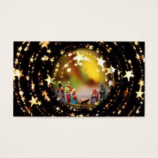 Nativity Scene Crib Virgin Mary Infant Jesus Stars Business Card