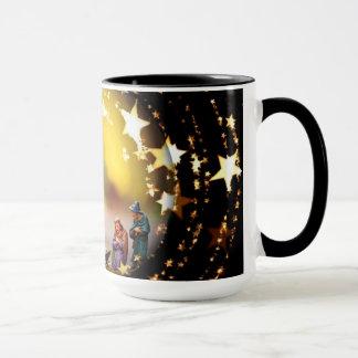 Nativity Scene Crib Virgin Mary Infant Jesus Stars Mug