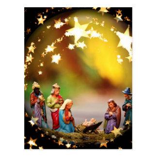 Nativity Scene Crib Virgin Mary Infant Jesus Stars Postcard