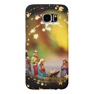 Nativity Scene Crib Virgin Mary Infant Jesus Stars Samsung Galaxy S6 Cases
