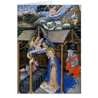 Nativity scene from an Italian Illuminated Gospel Card