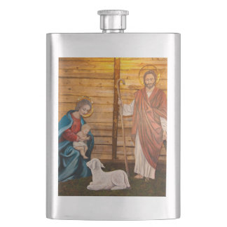 Nativity scene hip flask