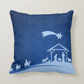 Nativity Scene with Three Wise Men Pillow