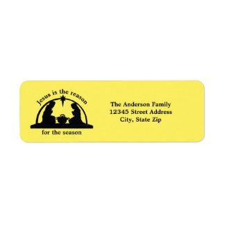 Nativity Scene Yellow - Return Address Label