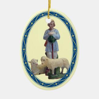 Nativity Shepherd with Sheep Ceramic Oval Decoration