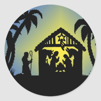 Nativity Silhouette Joy to the World Classic Round Sticker