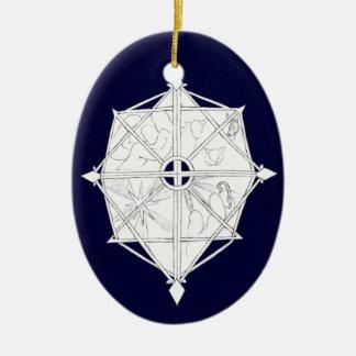 Nativity Snowflake Ceramic Oval Decoration