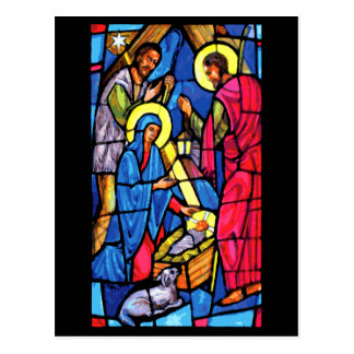 Nativity Stained Glass Christmas Postcard