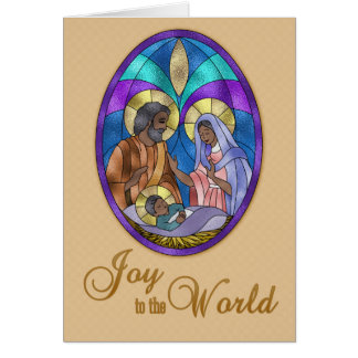 Nativity Stained Glass, Dark Skinned, Christmas Card
