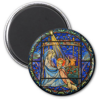Nativity Stained Glass Window 6 Cm Round Magnet
