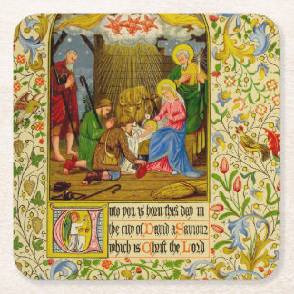 Nativity | Unto you is born this day Square Paper Coaster