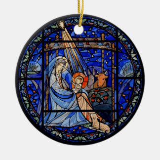 Nativity with Christmas + Date Ceramic Ornament