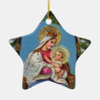 Nativity With Madonna And Child Ceramic Star Decoration