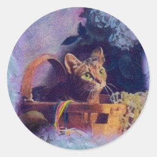 natty the cat round sticker