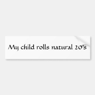 Natural 20 child sticker bumper sticker