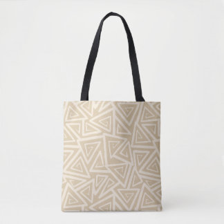 Natural and Ivory Abstract Tumbling Triangles Tote Bag