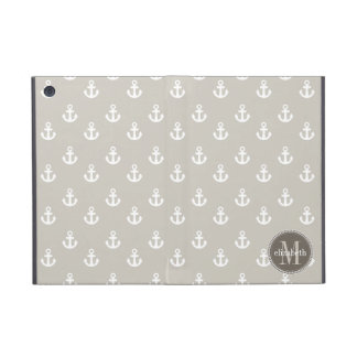 Natural and White Ship Anchors Monogram Cover For iPad Mini