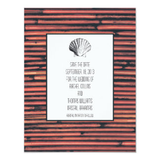 Natural Bamboo Save the Date 11 Cm X 14 Cm Invitation Card