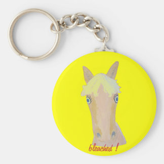 Natural blond basic round button key ring