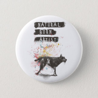 natural born artist 6 cm round badge