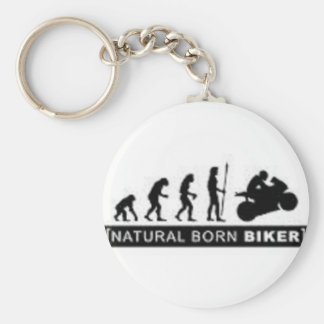 Natural born biker basic round button key ring