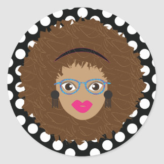 Natural Brown Hair Glam Dot Print Classic Round Sticker