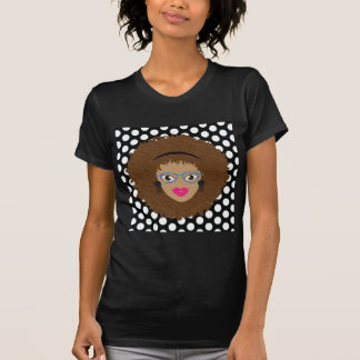 Natural Brown Hair Glam Dot Print T-Shirt