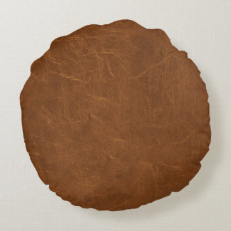 Natural Brown leather look Round Cushion