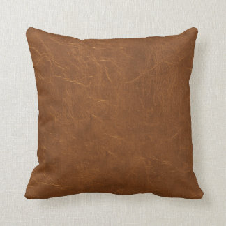 Natural Brown Leather look Throw Cushions